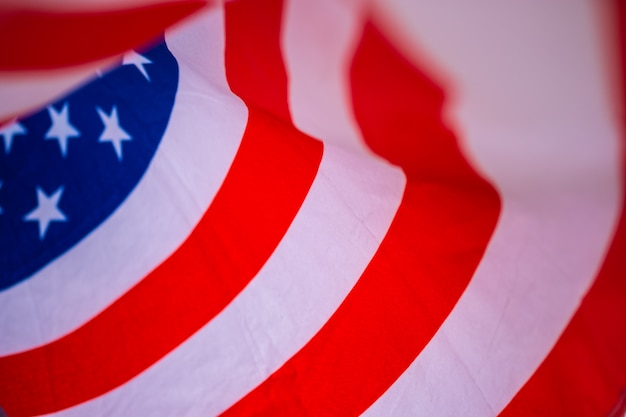 Wavy of united states of america flag with white background.