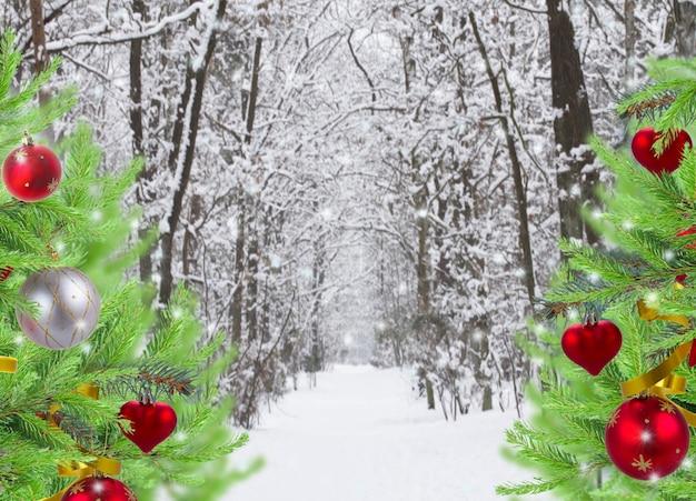 常緑樹が飾られた雪に覆われた冬の森の道