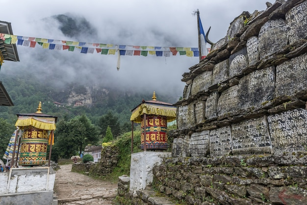 Way to mt.everest base camp with two pray wheel on the way to base camp.