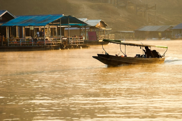 A way of river life. villager travel distance by local speed boat in the backwaters, people of the region depend on boats for their transporting needs.