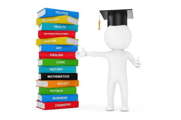 지식, 교육 및 독서 개념으로 가는 길. 흰색 배경에 색 학교 책의 스택 근처에 서 있는 졸업 모자에 있는 사람. 3d 렌더링