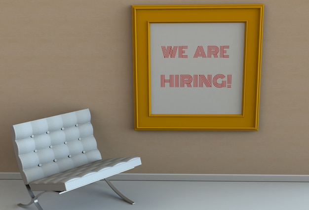 We are hiring, message on picture frame, chair in an empty room