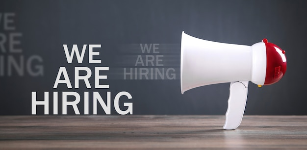 We are hiring message with a megaphone.