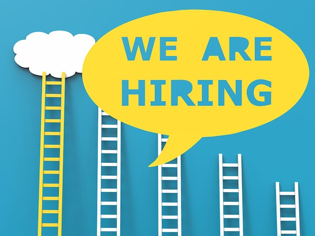 We are hiring with speech bubble on white background