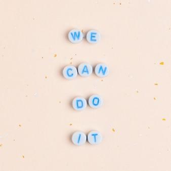 私たちはそれを行うことができます、ビーズで引用します