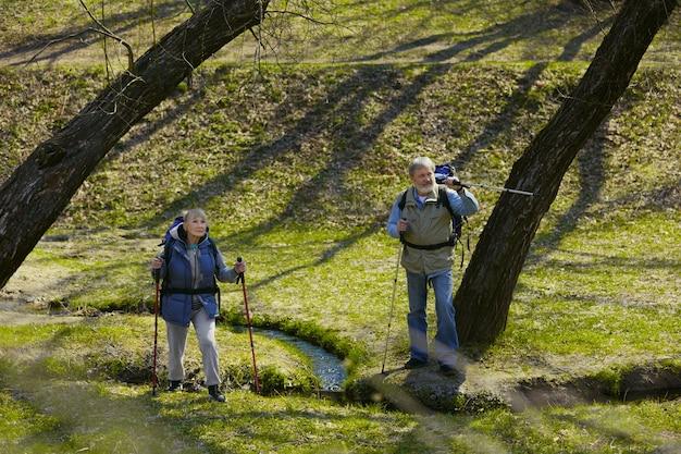 私たちは一緒にそれを行うことができます。小川の近くの晴れた日に緑の芝生を歩いて観光服の男女の老家族カップル。観光、健康的なライフスタイル、リラクゼーションと一体感の概念。