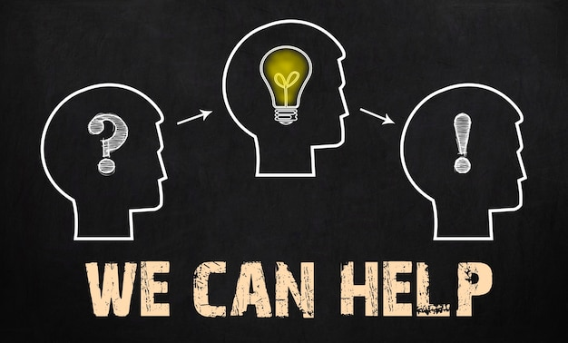 We can help - group of three people with question mark, cogwheels and light bulb on chalkboard background.