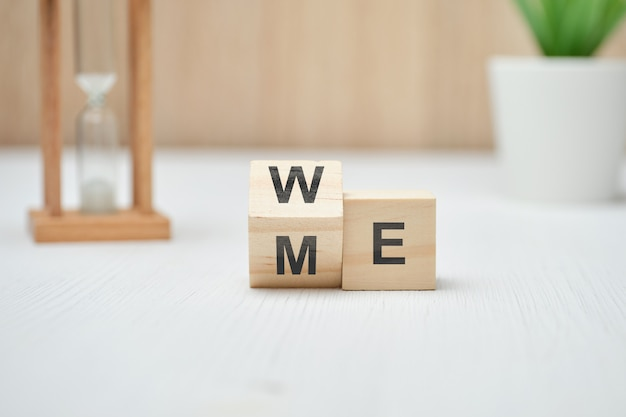 We and me on wooden blocks