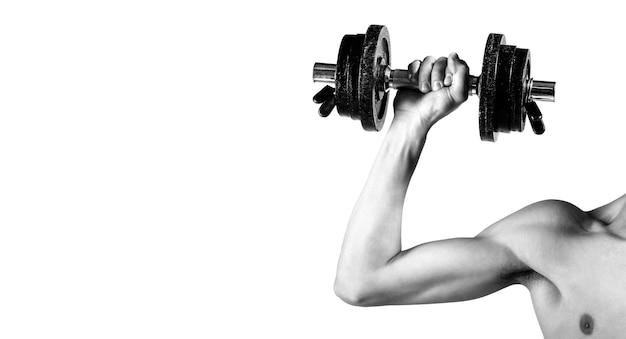 Weak hand man lift a weight, dumbbells. nerd maleraising a dumbbell. man hand holding dumbbell in hand. black and white. skinny guy hold dumbbells up in hands. a thin man in sports with dumbbells.