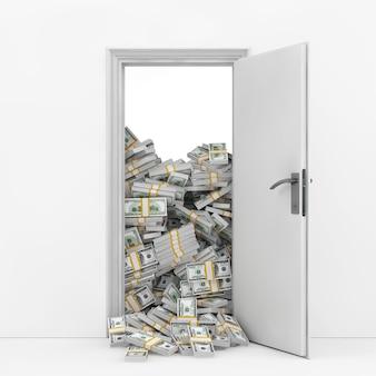 Wealth concept. opening door with heap of dollar bills extreme closeup. 3d rendering.