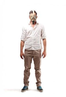 Wearing a gas mask