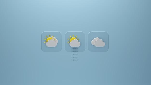 Значки прогноза погоды с облачным 3d-рендерингом