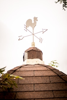 Weathercock vane on a tiled roof