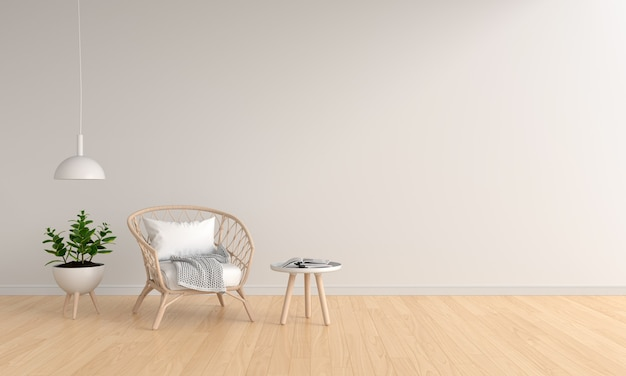 Weave wooden chair in white living room