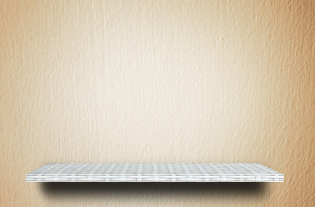 Weaver wooden shelf counter cream cement  background