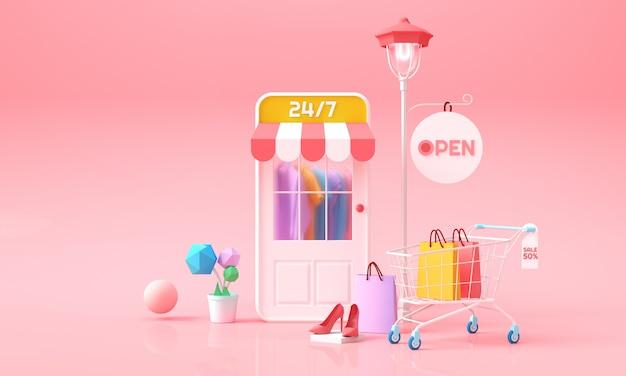 電話でのオンラインショッピング。モバイルショップのドア、カート、および布製バッグの後ろの服。広告、バナー、パンフレット、webテンプレートのオンラインマーケティングの背景。 3 dレンダリングのイラスト。