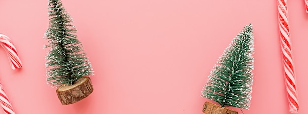 Web banner with christmas trees