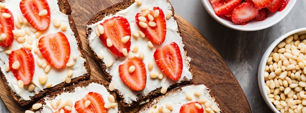 Web banner with healthy breakfast banner background,