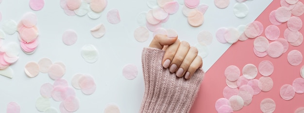 Web banner with woman hand