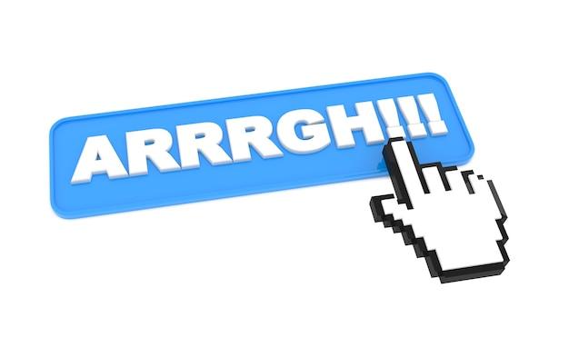 Webボタン「arrrgh !!!」白い背景に。白い背景で隔離。