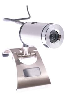 흰색 배경에 고립 된 웹 카메라