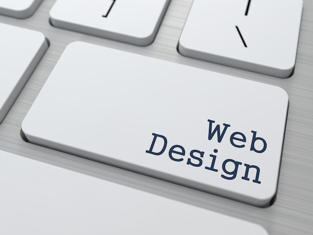 Web design - business concept. button on modern computer keyboard.