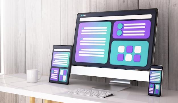 Web design concept on desktop 3d rendering