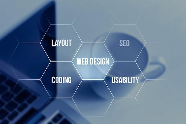 Концепция веб-дизайна для интернет-страниц на фоне ноутбука.