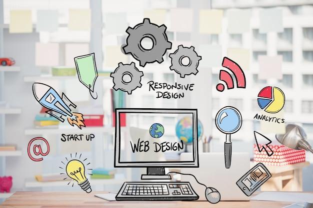 Концепция веб-дизайн с рисунками