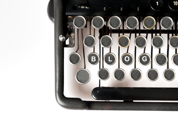 Web design keyword close up of retro style typewriter in studio
