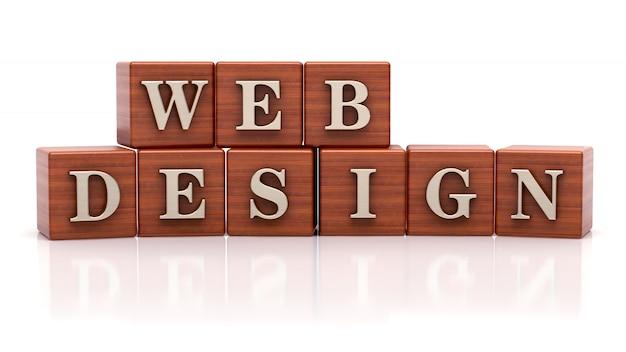 木製の立方体で書かれたwebデザイン