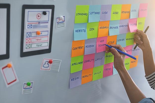 전략 계획을위한 브레인 스토밍을하는 웹 디자이너.