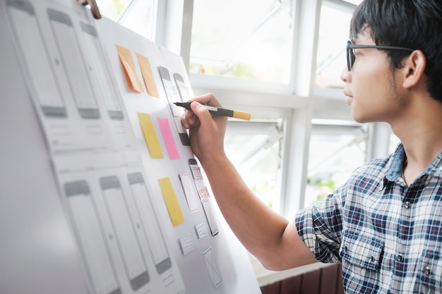 휴대폰 용 웹 디자이너, ux ui 디자이너 계획 응용 프로그램