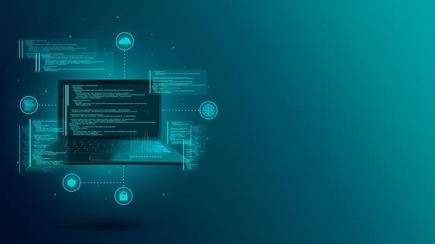 Веб-разработка, кодирование и программирование сайта или приложения на ноутбуке