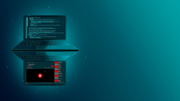 Web development and website coding on a laptop