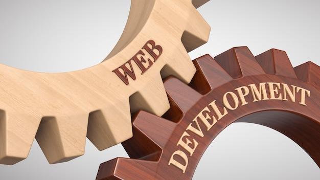 Web development written on gear wheel
