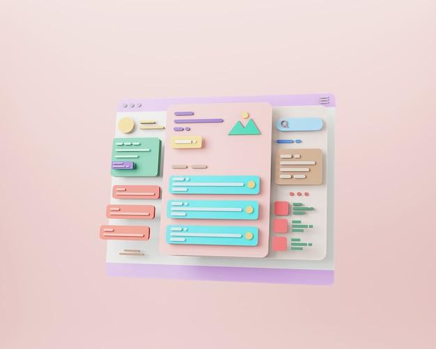 Web page interface design web design and web development concept user interface optimization 3d rendering
