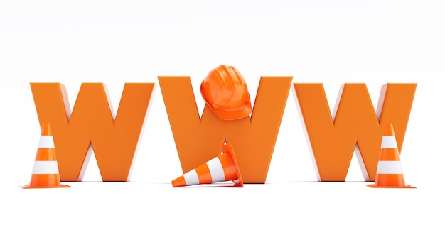 Web page is under construction. 3d render of www under construction