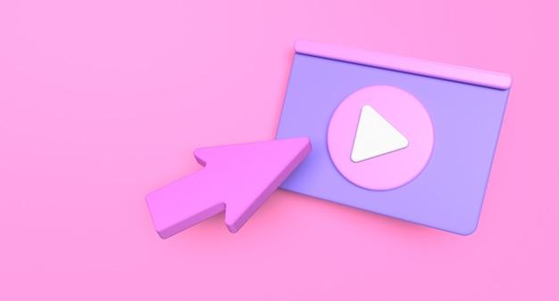 Концепция социальных средств массовой информации веб-страницы. иллюстрация значка воспроизведения видео. 3d визуализация
