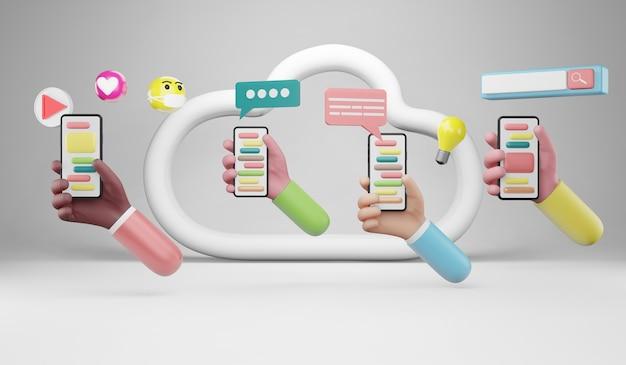Система веб-поиска. кампания в цифровых сми, контент-маркетинг, веб-сайт, концепция цифрового маркетинга. 3d концептуальная иллюстрация