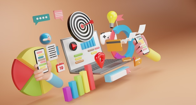 Web検索エンジン。デジタルメディアキャンペーン、コンテンツマーケティング、ウェブサイト、デジタルマーケティングのコンセプト。 3d概念図