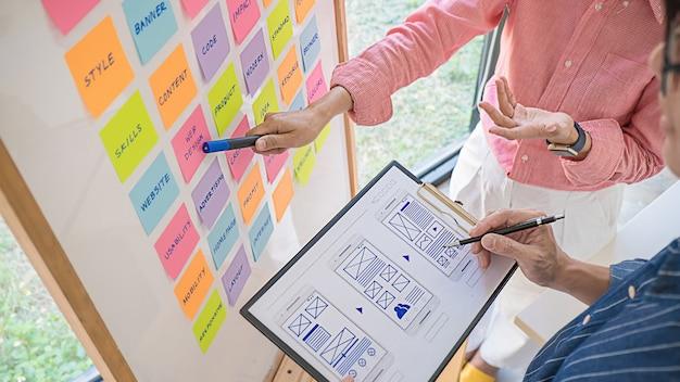戦略計画についてブレーンストーミングを行うwebデザイナー。オフィスボードでやることでカラフルな付箋。ユーザーエクスペリエンス(ux)の概念。