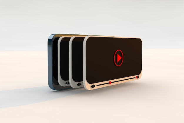 Web video player and modern design. multimedia interface concept, ideal for youtuber and vlogger. 3d render
