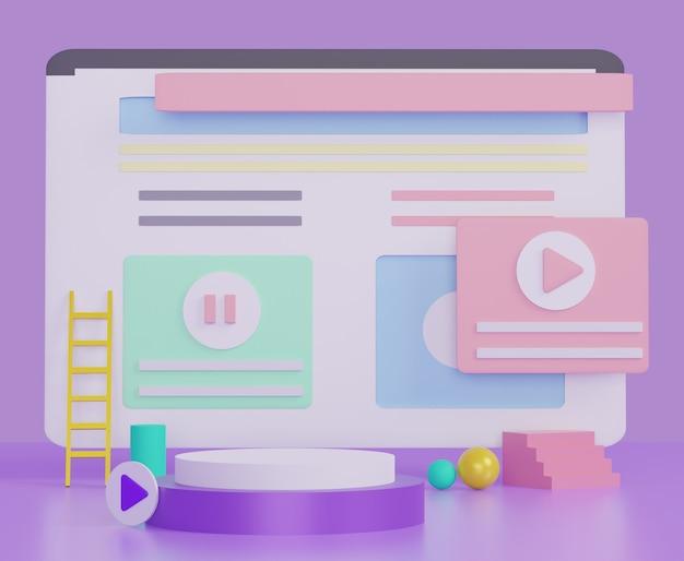 創造的なアイデアやビジネスのためのブラウザーウィンドウ、ソーシャルネットワーク、またはwebページのデザイン。パステル調のカラフルなテーマのモダンなミニマルなウェブサイト。