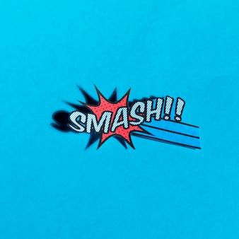 青い背景に漫画のブームスマッシュベクトルアイコンのwebのフラットイラスト