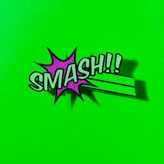 緑の背景に漫画のブームスマッシュベクトルアイコンのwebのフラットイラスト