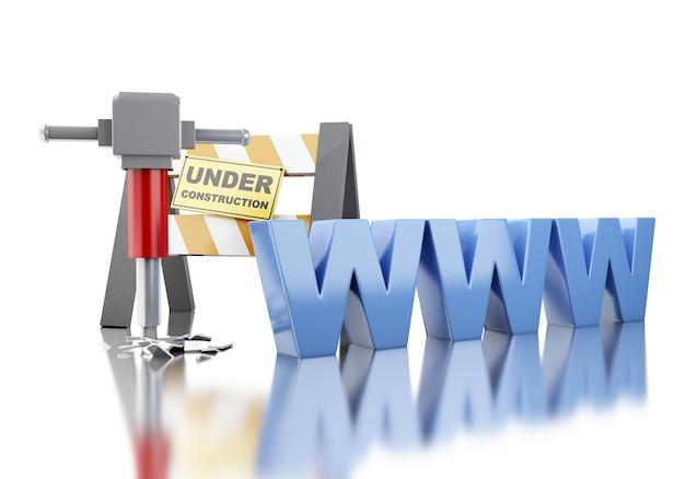 建設コンセプトのウェブサイト。 3dイラスト