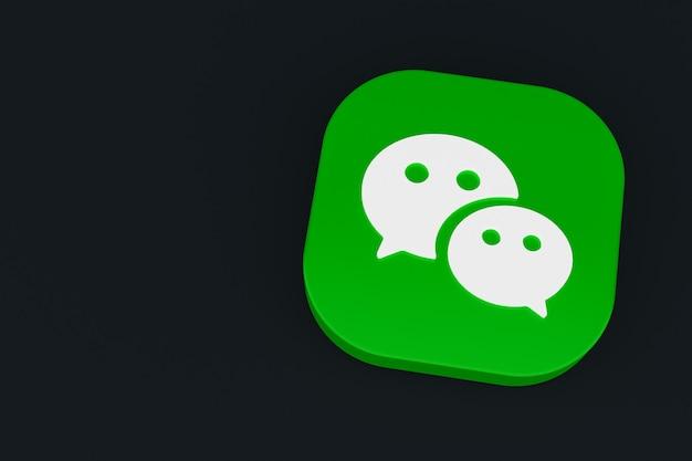 3d-рендеринг логотипа приложения wechat на черном фоне
