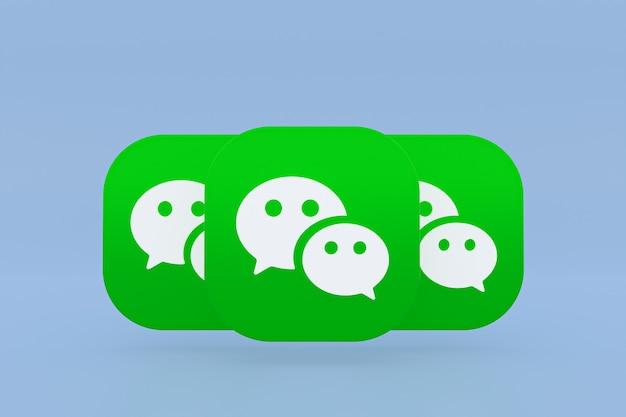 Логотип приложения wechat 3d-рендеринг на синем фоне