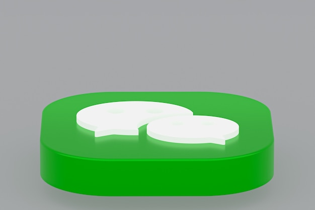 3d-рендеринг логотипа приложения wechat на сером фоне